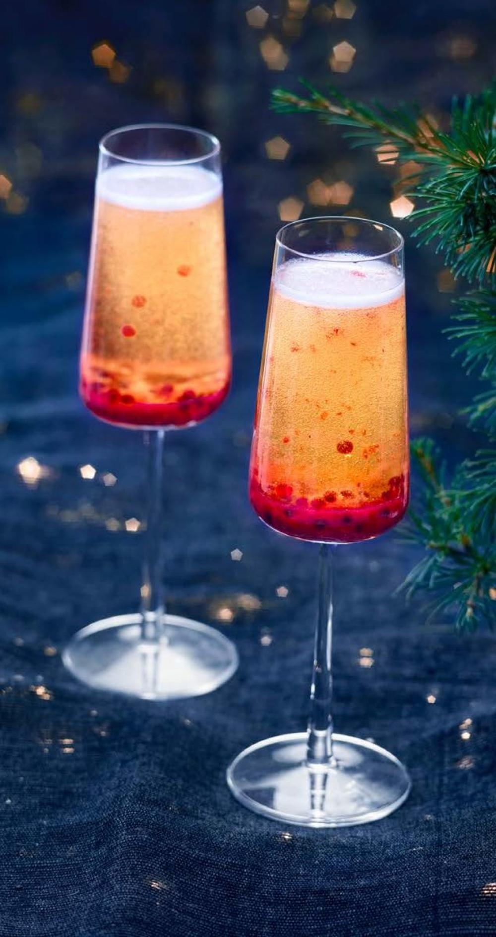 Recipe Cocktail de fêtes – Champagne & Framboises