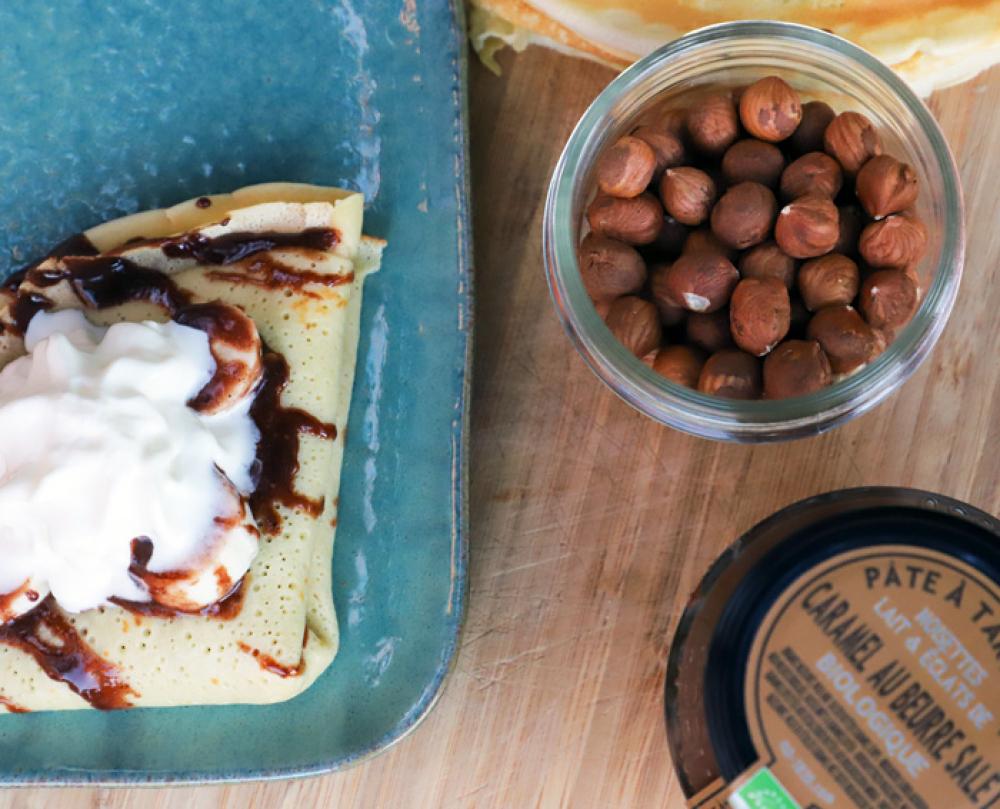Recipe Crêpe à la banane & pâte à tartiner bio noisette & caramel beurre salé