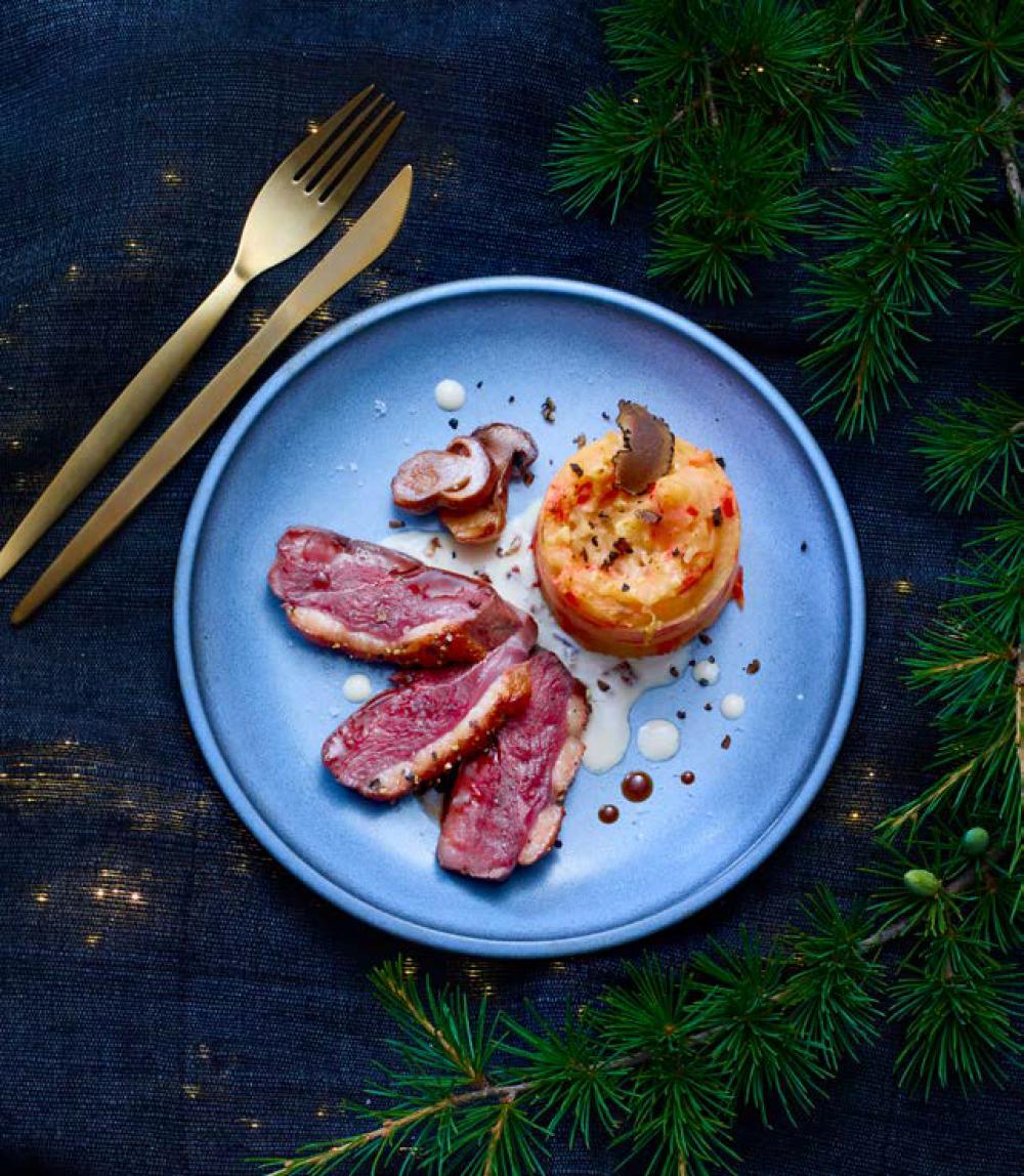 Recipe Magret de canard sauce champignon & écrasé de pommes de terre à la truffe