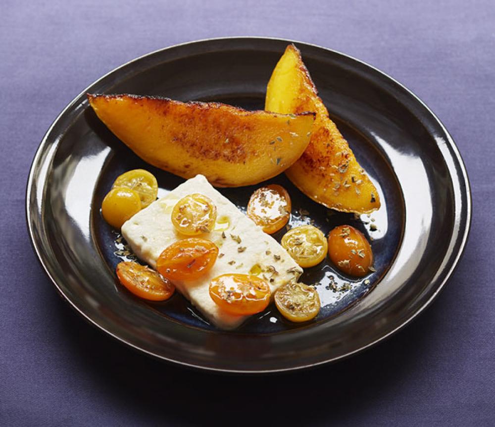 Recipe Feta et mangue, balsamique blanc et huile au basilic