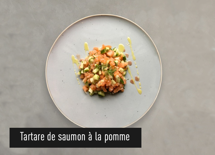 Recipe Tartare de saumon, pomme, concombre et aneth