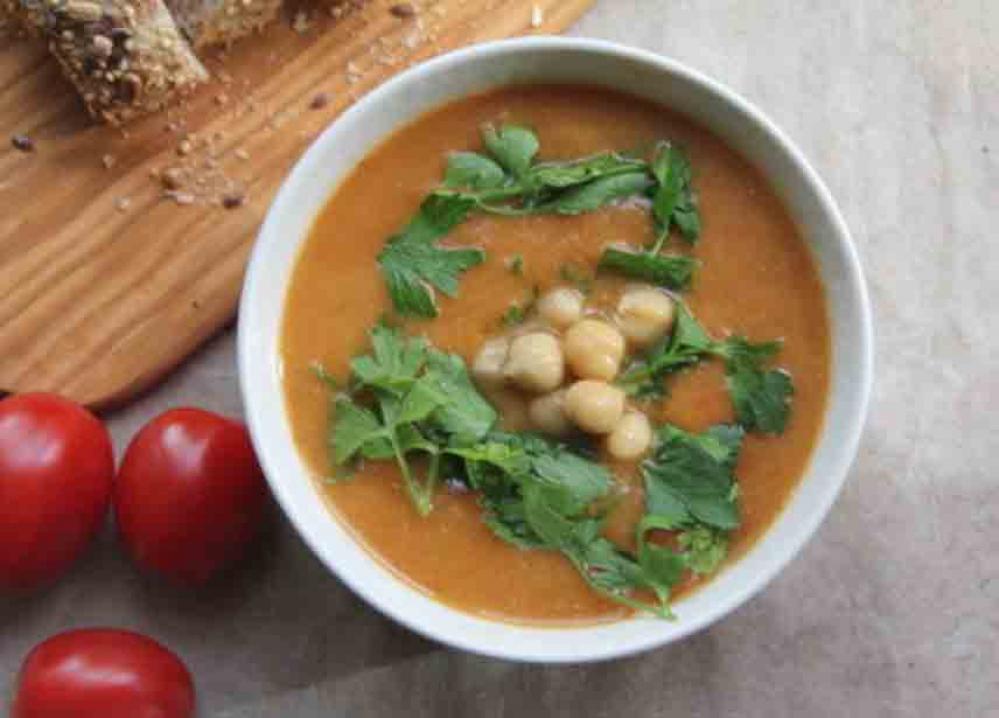 Recipe Soupe de lentilles aux tomates et pois chiches