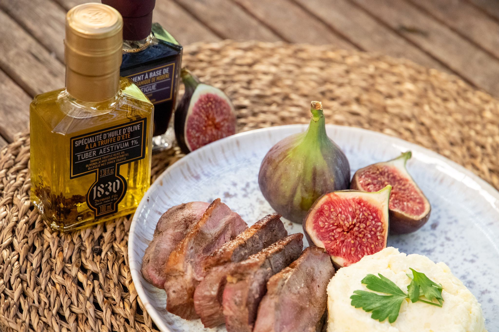Recipe Duck breast with figs & truffle with mashed potatoes